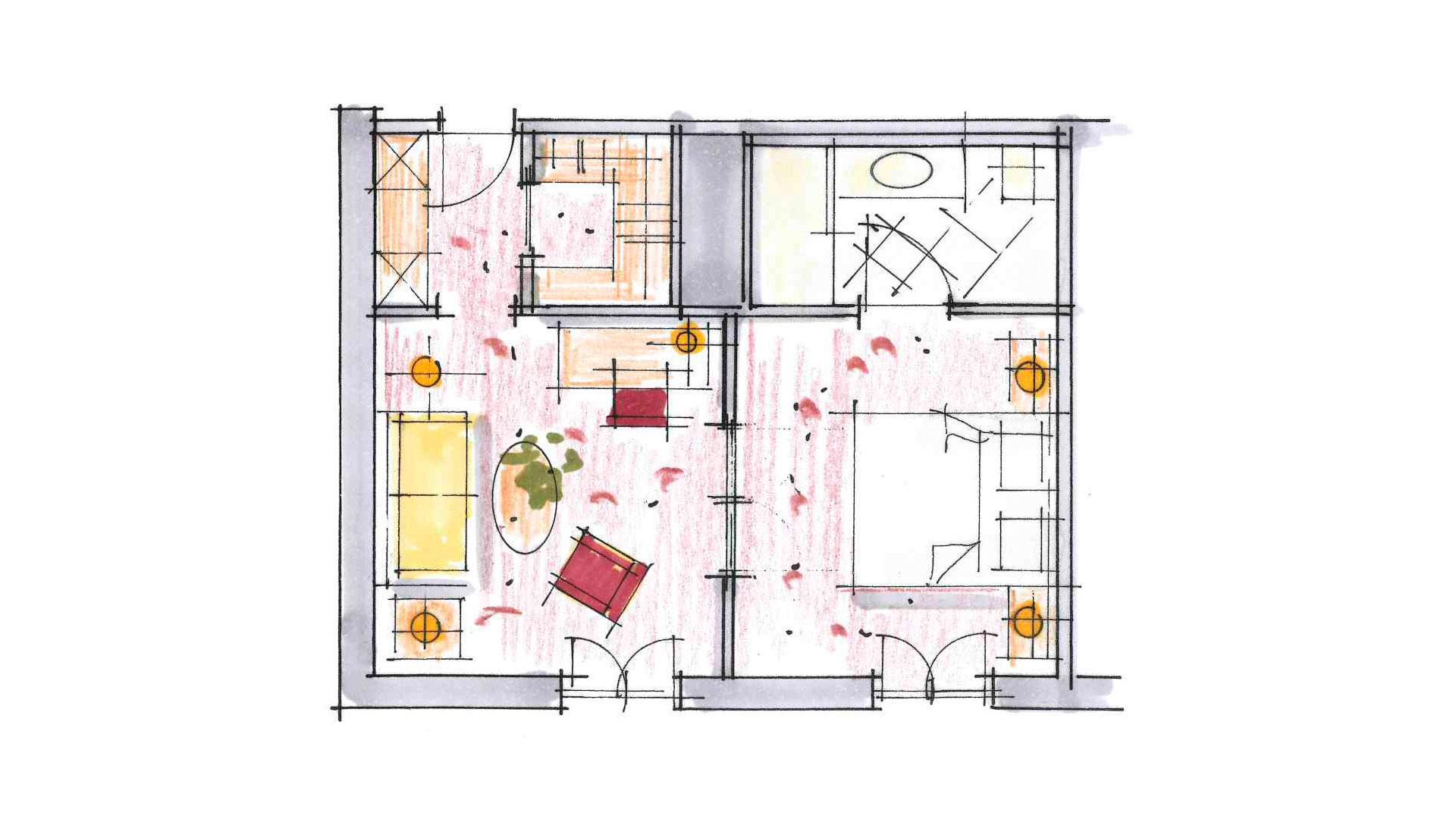 Planansicht vom Doppelzimmer Bellevue