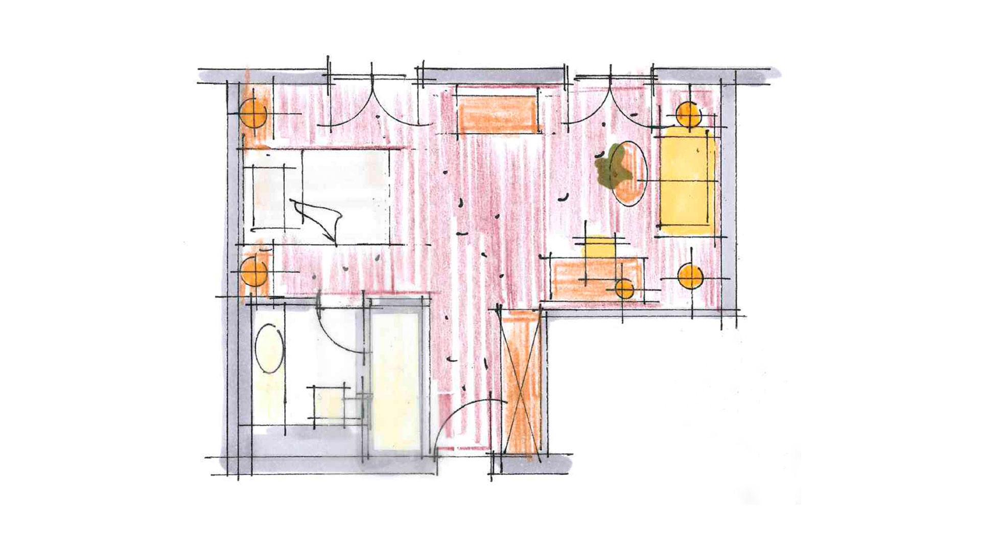 Planansicht vom Einzelzimmer Bellevue
