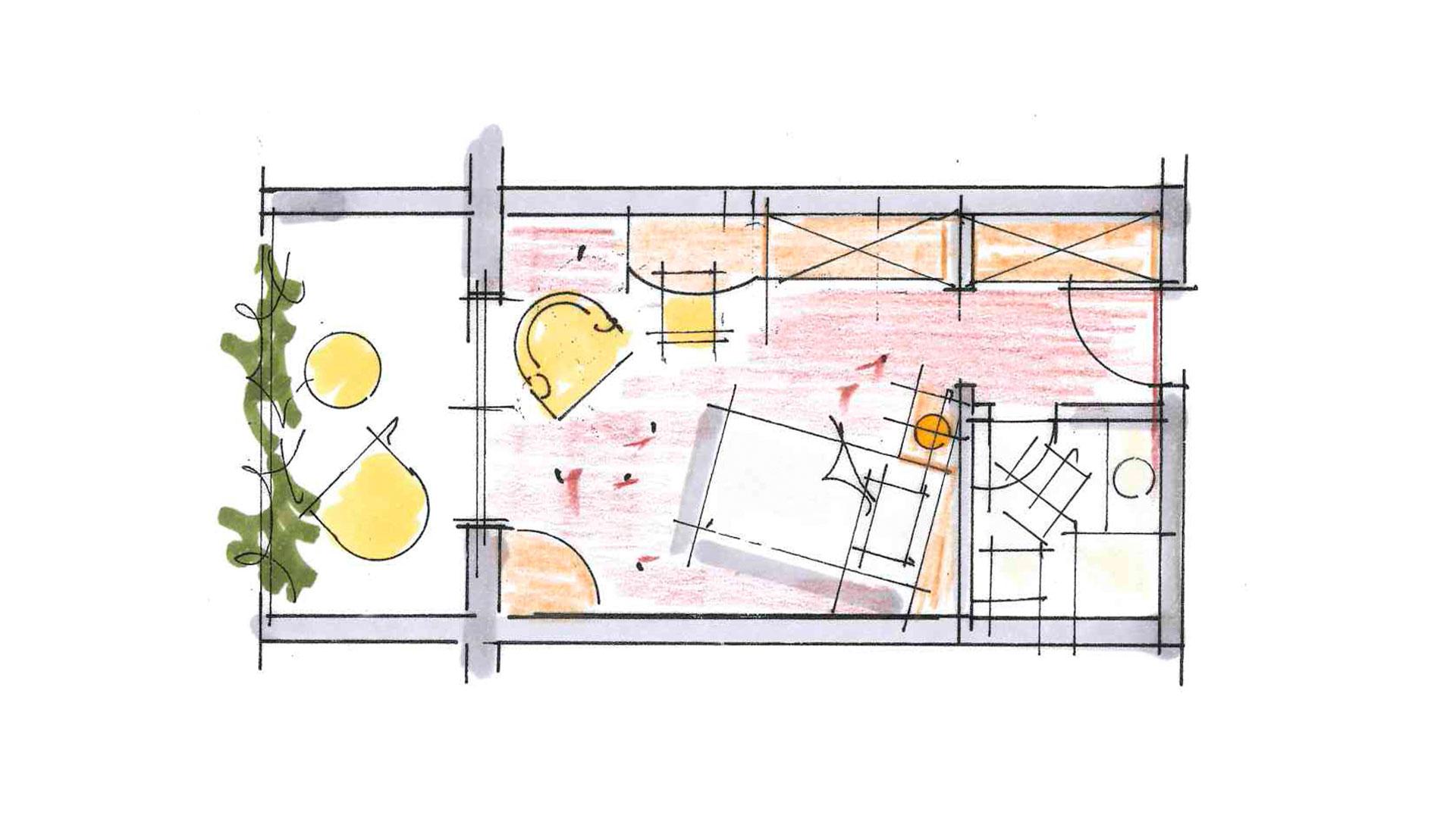 Planansicht vom Einzelzimmer Therme