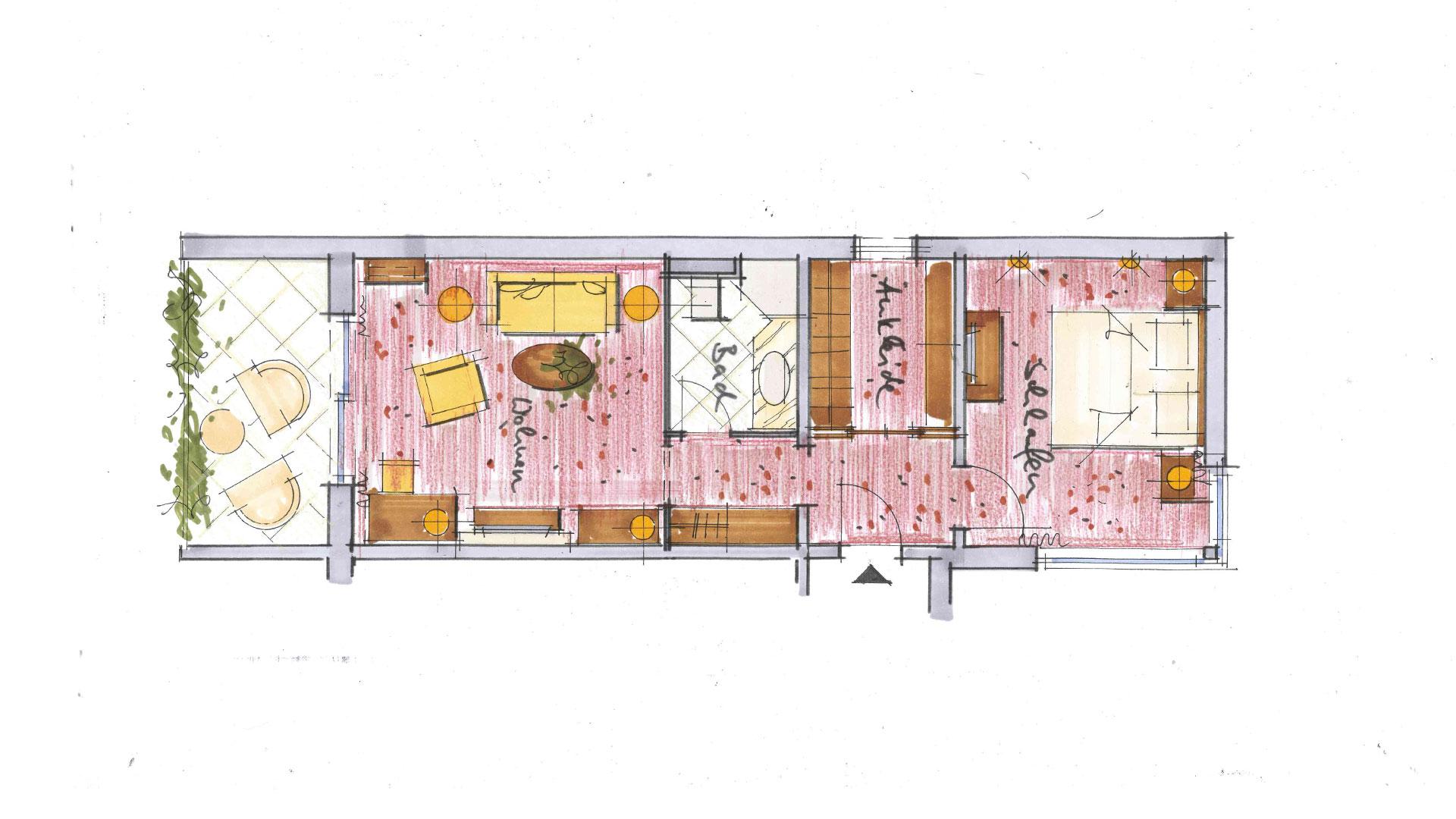Planansicht der Komfort Suite